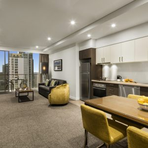 Quest East Perth One Bedroom Apartment Living Area (02)